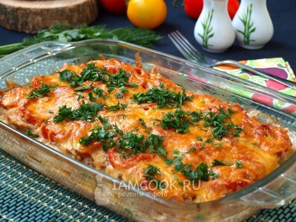Рецепт картошки с фаршем и помидорами в духовке