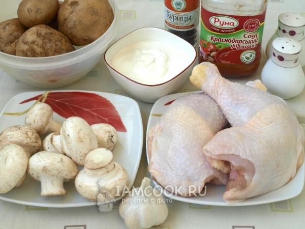 Ингредиенты для картошки с курицей и грибами в духовке