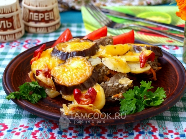 Фото мяса с баклажанами и картошкой в духовке
