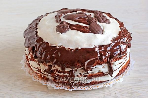 Готовый торт «Трухлявый пень» с вареньем