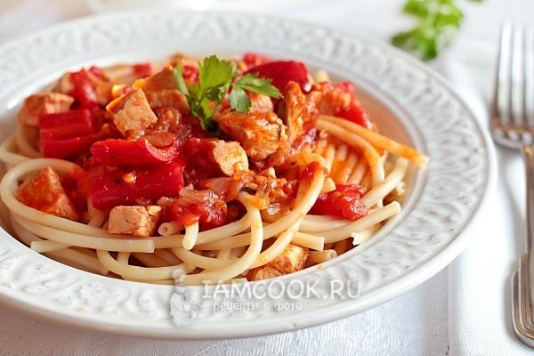 Фото спагетти с курицей в томатном соусе