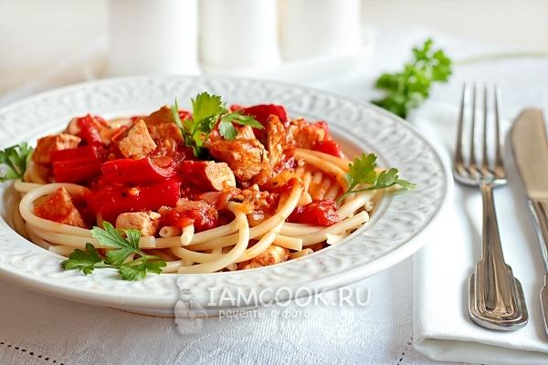 Рецепт спагетти с курицей в томатном соусе