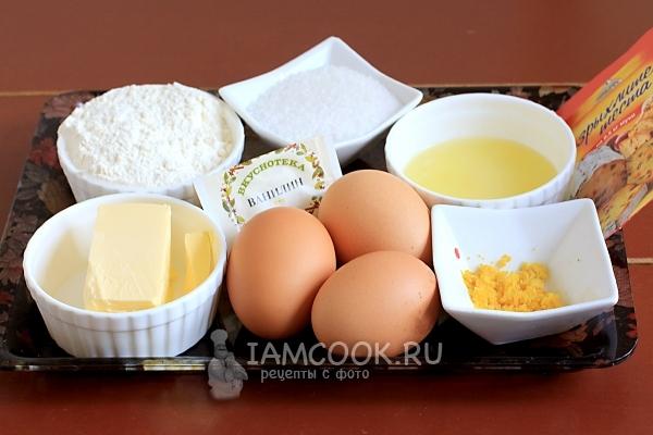 Ингредиенты для классического лимонного кекса