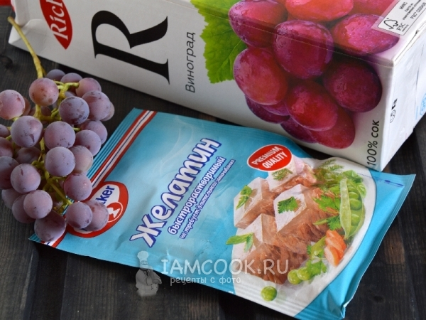 Ингредиенты для желе из винограда
