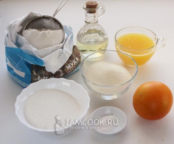 Ингредиенты для постного апельсинового манника
