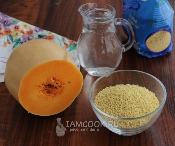 Ингредиенты для постной пшенной каши с тыквой