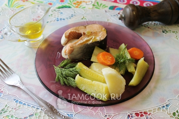 Фото семги на пару с овощами