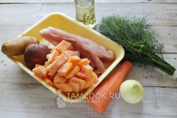Ингредиенты для тыквенного супа-пюре с курицей