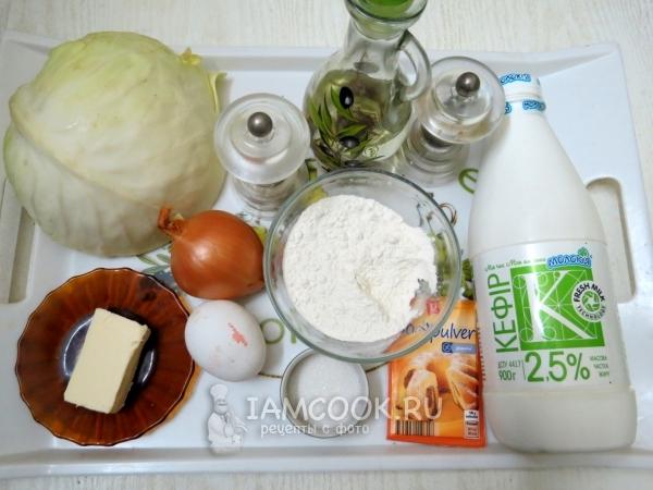 Ингредиенты для пирога с капустой без дрожжей
