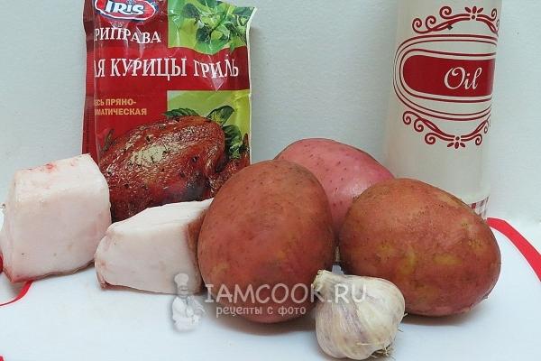 Ингредиенты для картошки-гармошки с салом в духовке