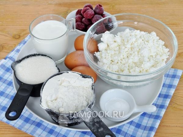 Ингредиенты для заливного пирога с творогом