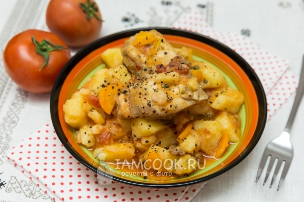 Рецепт тушеной картошки с курицей в казане