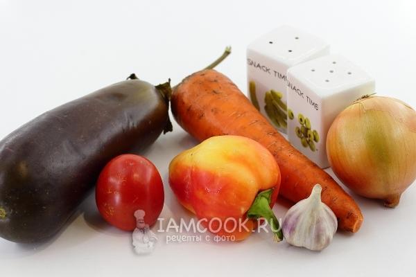 Ингредиенты для рагу из баклажанов и помидоров