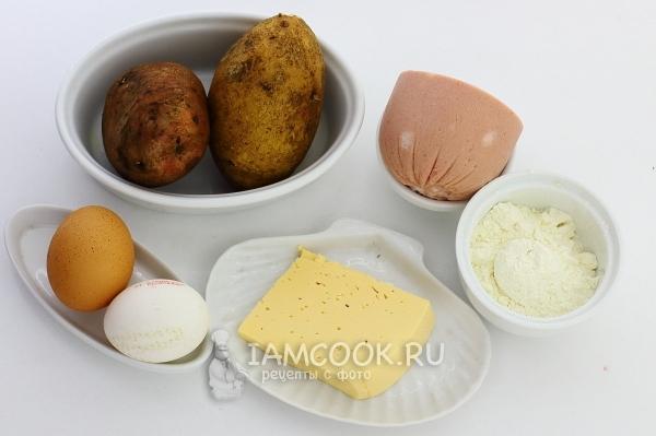 Ингредиенты для картофельных драников с колбасой и сыром