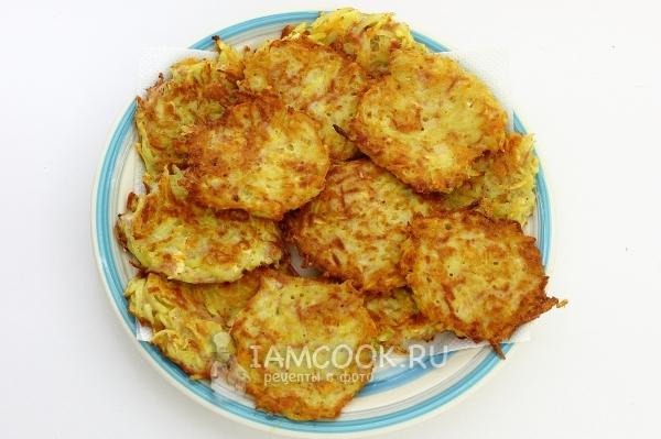 Рецепт картофельных драников с колбасой и сыром