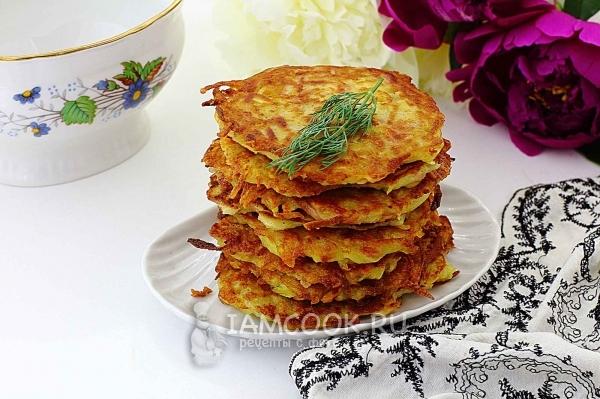 Фото картофельных драников с колбасой и сыром