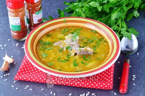 Фото супа с рисом, картофелем и мясом