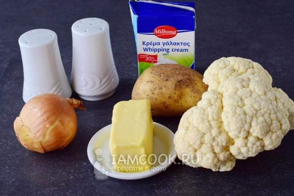 Ингредиенты для супа-пюре из цветной капусты со сливками