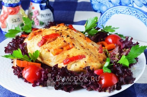 Рецепт куриной грудки с болгарским перцем в духовке