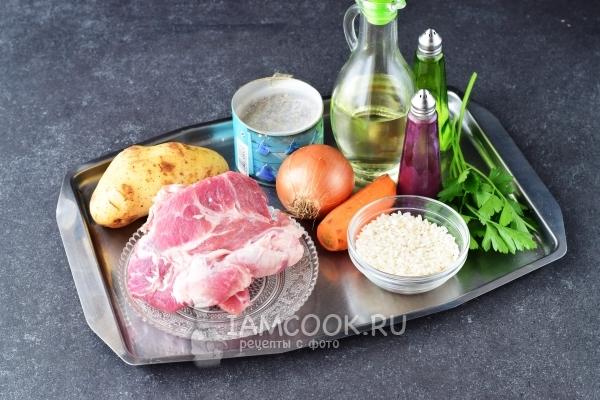 Ингредиенты для супа с рисом, картофелем и мясом