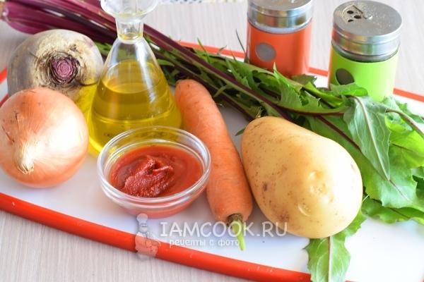 Ингредиенты для супа со свекольной ботвой