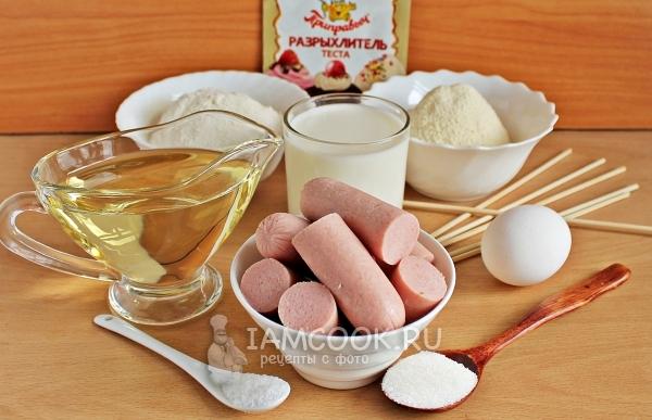 Ингредиенты для сосисок в тесте на палочке