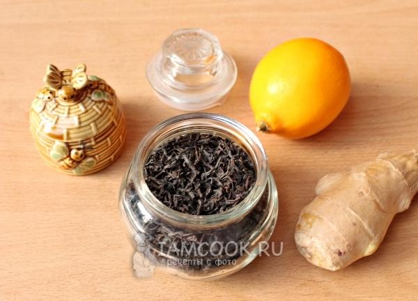 Ингредиенты для чёрного чая с корнем имбиря