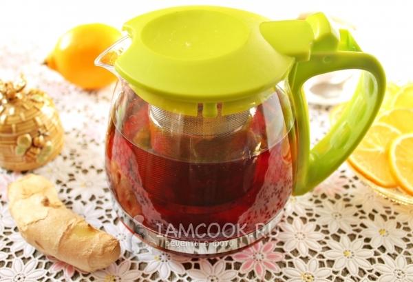 Рецепт чёрного чая с корнем имбиря