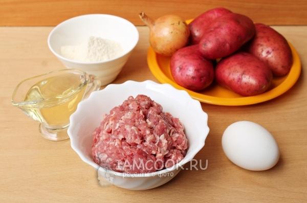 Ингредиенты для жареных картофельных пирожков с мясо