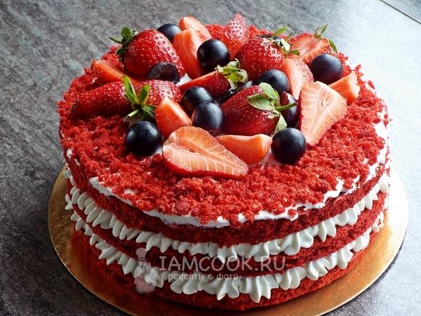 Фото торта «Красный бархат» с сырно-сливочным кремом