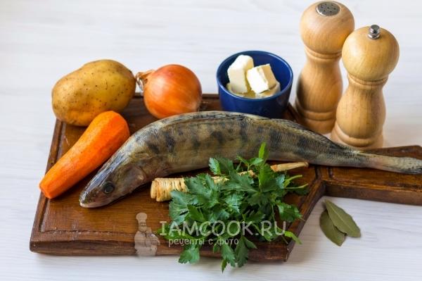 Ингредиенты для ухи из судака по-домашнему