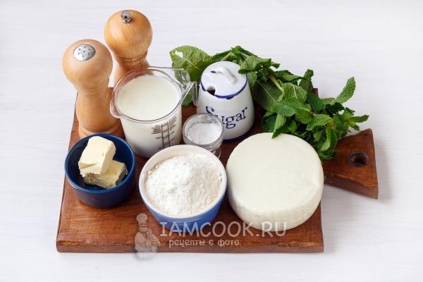 Ингредиенты для лепёшек с сыром и зеленью на сковороде