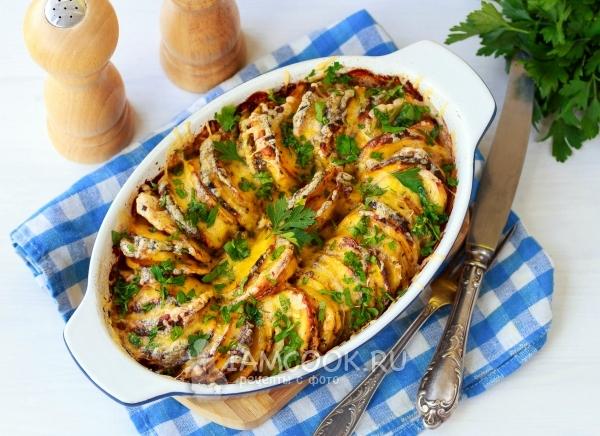 Фото тыквы, запеченной с картошкой в духовке