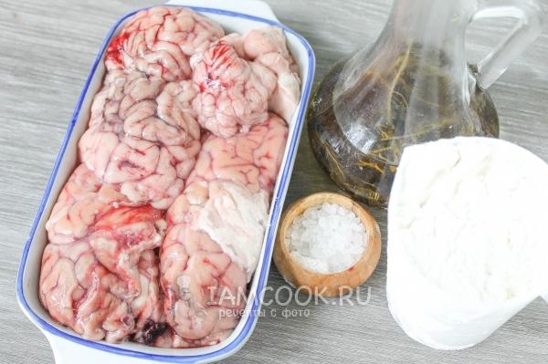 Ингредиенты для жареных свиных мозгов
