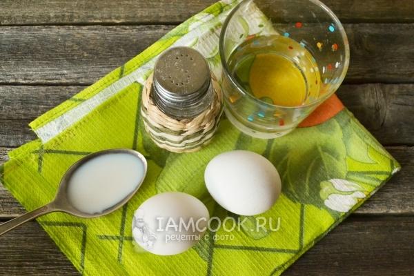 Ингредиенты для омлета в микроволновке для детей