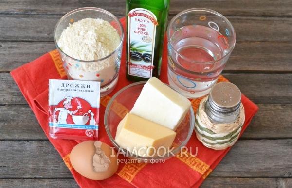 Ингредиенты для пирога с сыром из дрожжевого теста