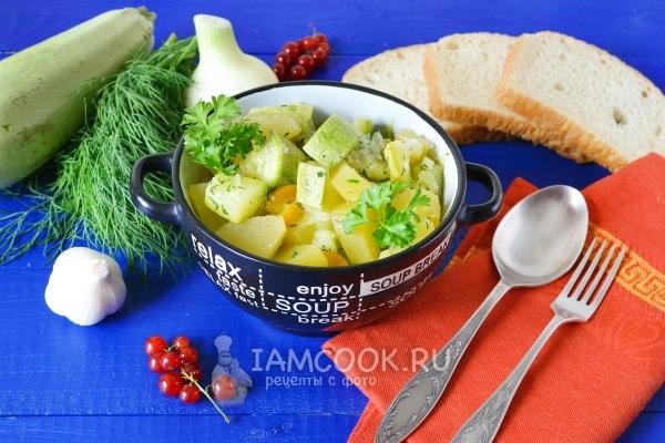 Фото тушеных кабачков с картошкой в мультиварке