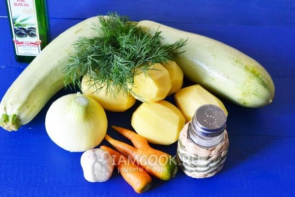 Ингредиенты для тушеных кабачков с картошкой в мультиварке
