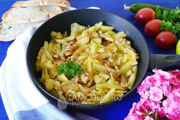 Рецепт жареной картошки с салом и луком