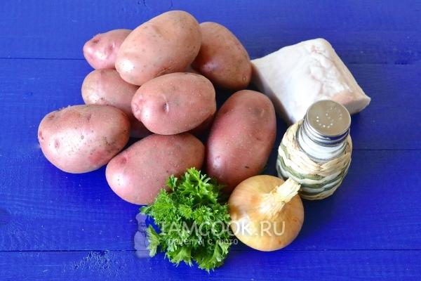 Ингредиенты для жареной картошки с салом и луком