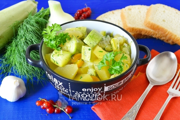 Рецепт тушеных кабачков с картошкой в мультиварке