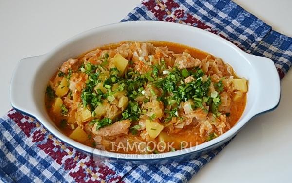 Тушеная капуста с картошкой и курицей рецепт с фото пошагово