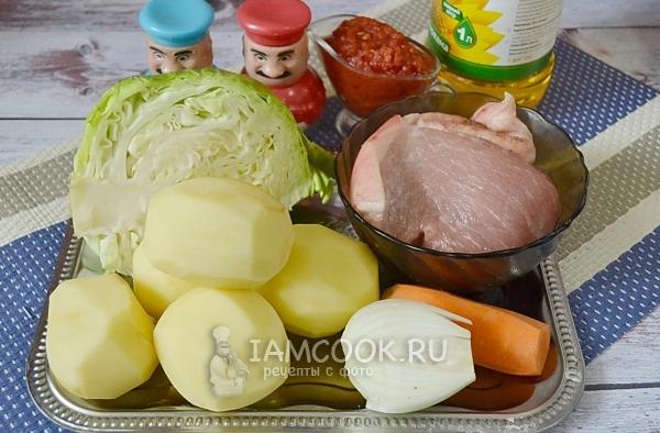 Ингредиенты для тушеной свинины с капустой и картошкой
