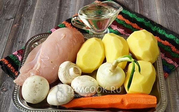 Ингредиенты для картошки с курицей и грибами в мультиварке