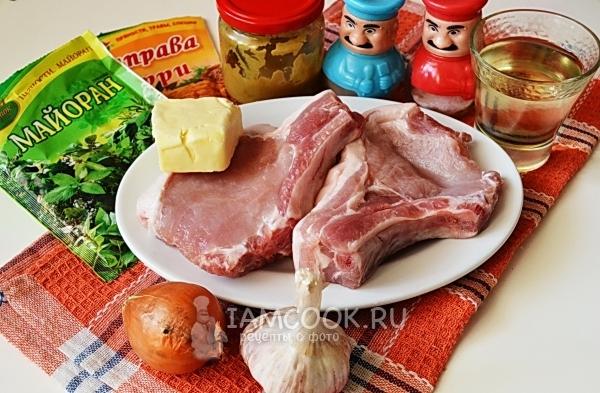 Ингредиенты для свиной котлеты на кости