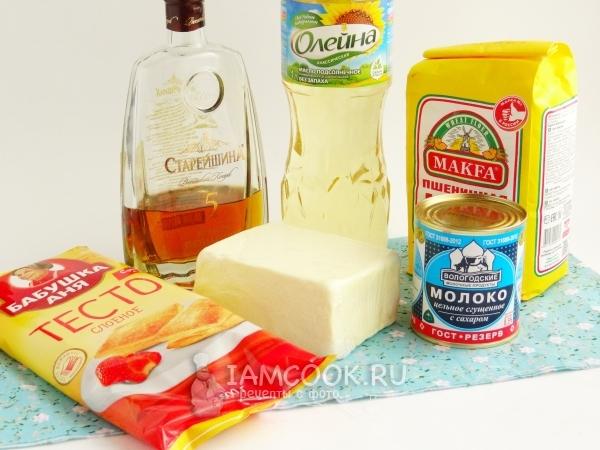 Ингредиенты для торта «Полено» из слоеного теста со сгущенкой