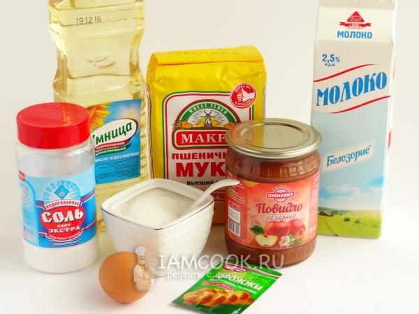 Ингредиенты для пирожков с повидлом «как пух» в духовке
