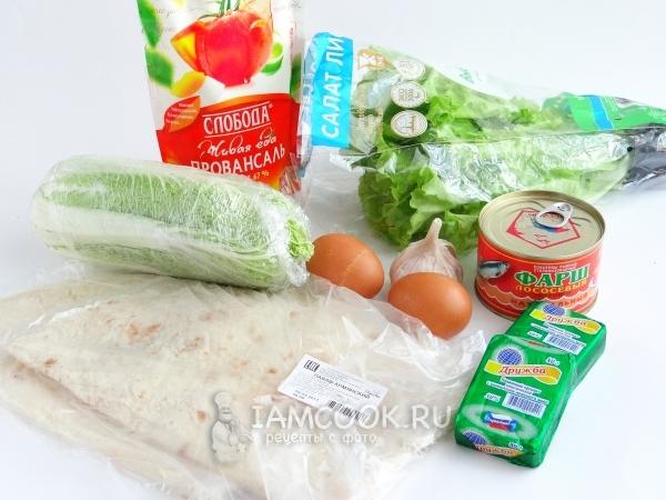 Ингредиенты для рулета из лаваша с консервированной рыбой