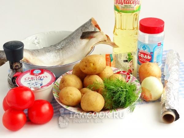 Ингредиенты для горбуши с картошкой в фольге в духовке