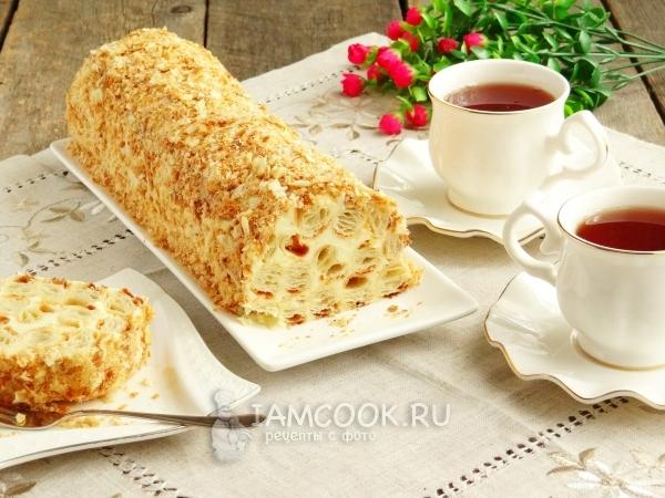 Готовый торт «Полено» из слоеного теста со сгущенкой